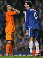 Photo: Paul Thomas.<br /> Chelsea v Barcelona. UEFA Champions League, Group A. 18/10/2006.<br /> <br /> Deco (L) of Barcerlona can't believe his luck.