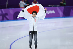 PYEONGCHANG, Feb. 18, 2018  Japan's Nao Kodaira celebrates after ladies' 500m final of speed skating at the 2018 PyeongChang Winter Olympic Games at Gangneung Oval, Gangneung, South Korea, Feb. 18,  2018. Nao Kodaira claimed champion in a time of 36.94 and set a new Olympic record. (Credit Image: © Han Yan/Xinhua via ZUMA Wire)