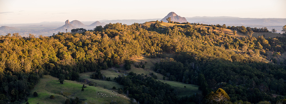 Panoramic view of the Glass House Mountains, Maleny, Sunshine Coast Hinterland, Queensland, Australia