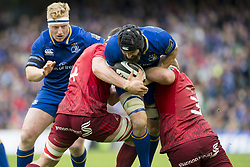 October 7, 2017 - Dublin, Ireland - Scott Fardy of Leinster tackled by John Ryan and Robin Copeland of Munster during the warm-up during the Guinness PRO14 match between Leinster Rugby and Munster Rugby at Aviva Stadium in Dublin, Ieland on October 7, 2017  (Credit Image: © Andrew Surma/NurPhoto via ZUMA Press)