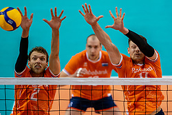 Wessel Keemink of Netherlands, Michael Parkinson of Netherlands in action during the CEV Eurovolley 2021 Qualifiers between Croatia and Netherlands at Topsporthall Omnisport on May 16, 2021 in Apeldoorn, Netherlands