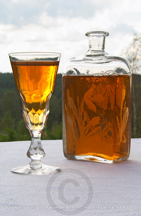 Swedish traditional aquavit schnapps glass in pointed form filled to the brim with spiced vodka, brannvin. A glass flask plunta with decorative engravings. Sweden, Europe.