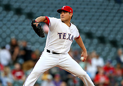 April 23, 2018 - Arlington, TX, U.S. - ARLINGTON, TX - APRIL 23: Texas Rangers starting pitcher Matt Moore delivers a pitch during the game between the Texas Rangers and the Oakland Athletics on April 23, 2018 at Globe Life Park in Arlington, Texas. (Photo by Steve Nurenberg/Icon Sportswire) (Credit Image: © Steve Nurenberg/Icon SMI via ZUMA Press)