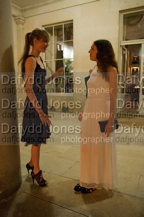 EDIE CAMPBELL; ROSIE CAMPBELL, The Goodwood Ball. In aid of Gt. Ormond St. hospital. Goodwood House. 27 July 2011. <br /> <br />  , -DO NOT ARCHIVE-© Copyright Photograph by Dafydd Jones. 248 Clapham Rd. London SW9 0PZ. Tel 0207 820 0771. www.dafjones.com.