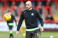 Forest Green Rovers Farrend Rawson(6) warming up during the EFL Sky Bet League 2 match between Stevenage and Forest Green Rovers at the Lamex Stadium, Stevenage, England on 26 January 2019.