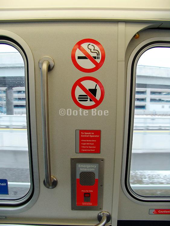 No eating and smoking sign in a new subway wagon.