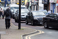 © Licensed to London News Pictures. 12/09/2020. Earlestown, UK. Queues along Earlestown high street for the pop up drive-in testing centre only open today as infection rates rise in the town. Photo credit: Kerry Elsworth/LNP