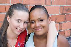 Portrait of two young women,