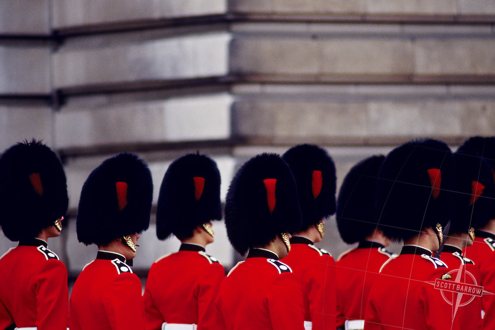 The Royal Guards at Buckingham Palace in London, England.