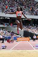 Funmi Jimoh of USA during the long jump during the Sainsbury's Anniversary Games at the Queen Elizabeth II Olympic Park, London, United Kingdom on 25th July 2015. Photo by Ellie Hoad.