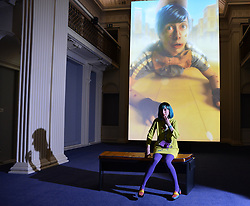 Venice Biennale show comes to Scotland. Artist Rachel Maclean at the exhibition of 'spite your face' in the Talbot Rice Gallery, Edinburgh from 24 February to 5 May.<br /> <br /> © Dave Johnston / EEm