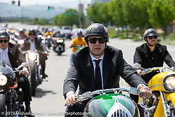Cory Ness rode his father Arlen's 1993 art deco Smoothness full-bodied custom Harley-Davidson for the Arlen Ness Memorial - Celebration of Life ride from the CrossWinds Church in Livermore to the Arlen Ness Motorcycle store in Dublin, CA, USA. Saturday, April 27, 2019. Photography ©2019 Michael Lichter.