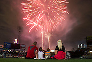 Fireworks explode in the outfield at Angel Stadium Saturday.