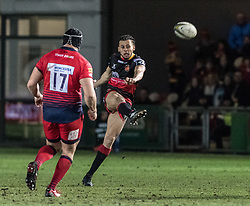Dragons' Calvin Wellington clears the ball down the field.<br /> <br /> Photographer Simon Latham/Replay Images<br /> <br /> Anglo-Welsh Cup Round Round 4 - Dragons v Worcester Warriors - Friday 2nd February 2018 - Rodney Parade - Newport<br /> <br /> World Copyright © Replay Images . All rights reserved. info@replayimages.co.uk - http://replayimages.co.uk