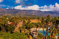 Cabrillo Boulevard along the waterfront in Santa Barbara, California USA, with the Santa Ynez Mountains behind.