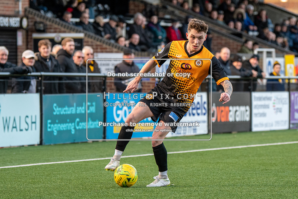 BROMLEY, UK - JANUARY 04: Joel Rollinson, of Cray Wanderers FC,  during the BetVictor Isthmian Premier League match between Cray Wanderers and Wingate & Finchley at Hayes Lane on January 4, 2020 in Bromley, UK. <br /> (Photo: Jon Hilliger)