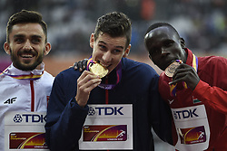 August 9, 2017 - London, England - LONDON , UNITED KINGDOM  - AUGUST  9 : Pierre Ambroise Bosse of France pictured  with his gold medal during podium ceremony 800 final at the16th IAAF World Athletics championships from august 4 till 13, 2017 in London ,United Kingdom, 09/08/2017 (Credit Image: © Panoramic via ZUMA Press)