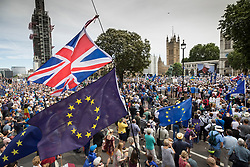 © Licensed to London News Pictures. 23/06/2018. London, UK. The People's Vote March for a second EU referendum listen to speeches in Parliament Square. Photo credit: Peter Macdiarmid/LNP