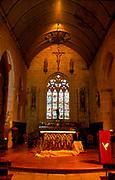 France, Brittany.  Mur de Bretagne.  Church interior.