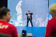 Aiden Montoui (7) has his own introduction at WWE Axxess ahead of WrestleMania on April 1, 2016 in Dallas, Texas.
