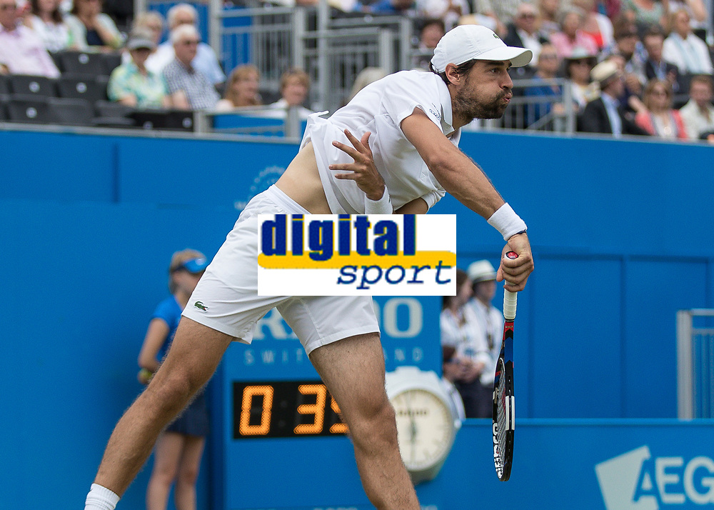 Tennis - 2017 Aegon Championships [Queen's Club Championship] - Day Four, Thursday <br /> <br /> Men's Singles: Round of 16 - Jeremy CHARDY (FRA)<br /> vs Feliciano LOPEZ (ESP)<br /> <br /> Jeremy Chardy (FRA) with the follow through after serving at Queens Club<br /> <br /> COLORSPORT/DANIEL BEARHAM