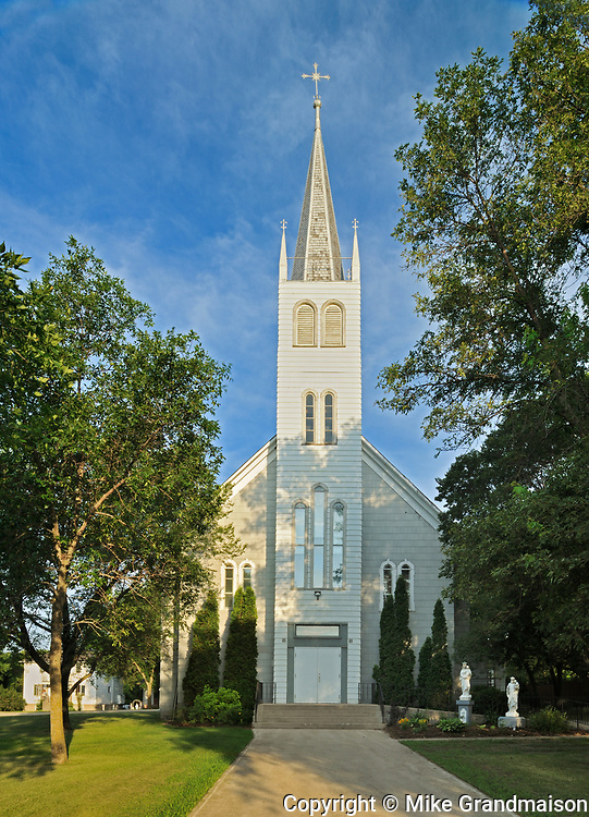 Exterior of Saint Léon Church, established in 1894, St. Leon, Manitoba, Canada