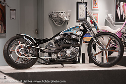 Pat Patterson's Led Sled Custom's engraved metal and leather custom Sportster in Michael Lichter's Skin & Bones tattoo inspired Motorcycles as Art show at the Buffalo Chip Gallery during the annual Sturgis Black Hills Motorcycle Rally.  SD, USA.  August 10, 2016.  Photography ©2016 Michael Lichter.