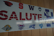 April 1, 2016; Indianapolis, Ind.; A banner showing the eight participants hangs at the Women's Final Four Salute at the Indianapolis Motor Speedway.