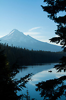 Boaters fishing on Lost Lake near Mount Hood, OR.