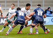 Sale Sharks flanker Cameron Neild and Sale Sharks flanker Jono Ross team up to tackle London Irish Wing Ben Loader during a Gallagher Premiership Round 14 Rugby Union match, Sunday, Mar 21, 2021, in Eccles, United Kingdom. (Steve Flynn/Image of Sport)