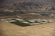 Aerial photograph of track housing in the southern California desert. Cathedral City, California, between Palm Springs and Palm Desert.