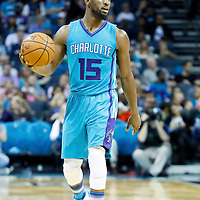 01 November 2015: Charlotte Hornets guard Kemba Walker (15) brings the ball up court during the Atlanta Hawks 94-92 victory over the Charlotte Hornets, at the Time Warner Cable Arena, in Charlotte, North Carolina, USA.