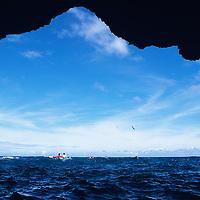 Hawaii, Kauai, Napali, Kalalau, kayaking Napali Coast to Kalalau Valley and onto Polihale Beach, sea caves