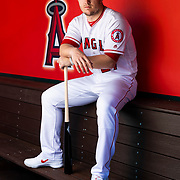 TEMPE, AZ - FEBRUARY 19: Los Angeles Angels outfielder Mike Trout (27) poses for a portrait during the Los Angeles Angels photo day on Tuesday, Feb. 19, 2019 at Tempe Diablo Stadium in Tempe, Ariz. (Photo by Ric Tapia/Icon Sportswire)