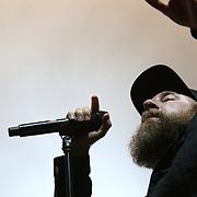 2019-08-03 | Borgholm, Sweden: Anders Fridén during the concert by In Flames at Borgholms Slottsruin ( Photo by: Fredrik Sten | Swe Press Photo )<br /> <br /> Keywords: BORGHOLM, Konsert, Festival, Borgholms Slottsruin, In Flames, Borgholm Brinner, rock, metal, doom, band, Borgholm, Concert, Show, Borgholms Slottsruin, In Flames, Borgholm Brinner, Borgholm Castle