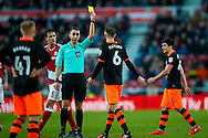 Sheffield Wednesday forward Steven Fletcher (6) is booked and receives a caution and a yellow card from todays referee David Coote  during the The FA Cup match between Middlesbrough and Sheffield Wednesday at the Riverside Stadium, Middlesbrough, England on 8 January 2017. Photo by Simon Davies.