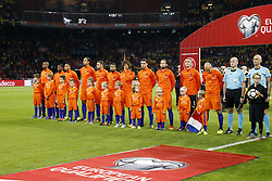 (L-R) Ryan Babel of Holland, Georginio Wijnaldum of Holland, Kenny Tete of Holland, Virgil van Dijk of Holland, Vincent Janssen of Holland, Tonny Vilhena of Holland, Nathan Ake of Holland, Karim Rekik of Holland, Daley Blind of Holland, goalkeeper Jasper Cillessen of Holland, Arjen Robben of Holland during the FIFA World Cup 2018 qualifying match between The Netherlands and Sweden at the Amsterdam Arena on October 10, 2017 in Amsterdam, The Netherlands