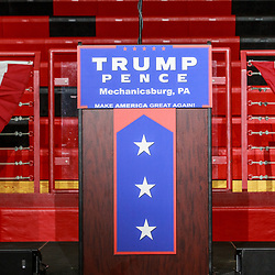 Mechanicsburg, PA – August 1, 2016: The lectern at the before a Donald J Trump rally.