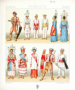 Ancient Oceania fashion and accessories from Geschichte des kostüms in chronologischer entwicklung (History of the costume in chronological development) by Racinet, A. (Auguste), 1825-1893. and Rosenberg, Adolf, 1850-1906, Volume 1 printed in Berlin in 1888