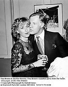 Tina Brown & Jocelyn Stevens. Tina Brown's Goodbye party from the Tatler. L'Escargot. 2/3/83. Film 8366f21<br />