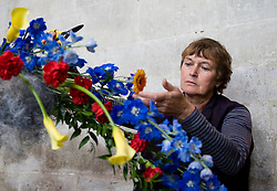 © licensed to London News Pictures. Salisbury Cathedral, Wiltshire UK  13/06/11. ..Pat Fowler from Bridport works on her arrangement...Over 500 volunteer flower arrangers meet at Salisbury Cathedral in Wiltshire to help create the spectacular flower festival at Salisbury Cathedral...Please see special instructions for usage rates. Photo credit should read Ian Forsyth/LNP