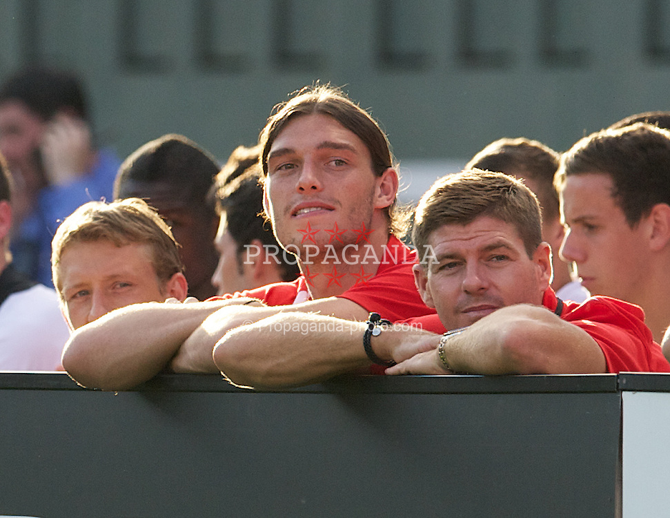BOSTON, MA - Wednesday, July 25, 2012: Liverpool's Andy Carroll and captain Steven Gerrard Roma during a pre-season friendly match at Fenway Park, home of the Boston Red Sox, the second match of the Reds' North American tour. (Pic by David Rawcliffe/Propaganda)