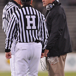 Oct 23, 2009; West Point, N.Y., USA; Rutgers head coach Greg Schiano speaks with referees during Rutgers' 27 - 10 victory over Army at Michie Stadium.