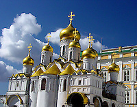 Beautiful gold domed rooftop of a church inside Russia's Kremlin.
