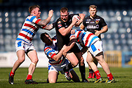 Bradford Bulls James Davies (36) is tackled during the Kingstone Press Championship match between Rochdale Hornets and Bradford Bulls at Spotland, Rochdale, England on 18 June 2017. Photo by Simon Davies.