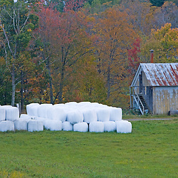 Hay bales and farm building in West Fairlee, Vermont.