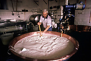 A family run Parmesan cheese production business. Seen here farmer mixing the milk which thickens into a cheese curd. Parma, Italy