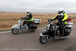 Rocket Scientists (no joke!) Celia and Shaye Williams on their Zundapp Bella 200cc scooters during the Motorcycle Cannonball coast to coast vintage run. Stage 12 (242 miles) from Great Falls to Kalispell, MT. Thursday September 20, 2018. Photography ©2018 Michael Lichter.