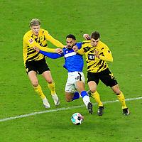 21.11.2020, OLympiastadion, Berlin, GER, DFL, 1.FBL, Hertha BSC VS. Borussia Dortmund, <br /> DFL  regulations prohibit any use of photographs as image sequences and/or quasi-video<br /> im Bild Carneiro da Cunha (Hertha BSC Berlin #10),<br /> Erling Haaland (Borussia Dortmund #9), Thomas Meiner (Borussia Dortmund #24)<br /> <br />       <br /> Foto © nordphoto / Engler
