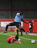 Football - 2020 / 2021 Sky Bet League Two - Crawley Town vs Southend United - The People's Pension Stadium.<br /> <br /> Crawley Town's Tom Nichols is tackled by Southend United's Elvis Bwomono.<br /> <br /> COLORSPORT/ASHLEY WESTERN